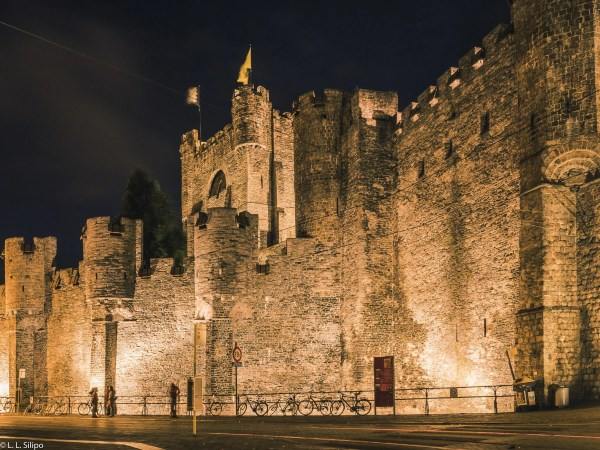 ancient, architecture, belgium, building, castle, city, culture, europe, european, evening, fortress, gent, ghent, gothic, historic, historical, history, landmark, medieval, monument, night, old, stone, street, tourism, tower, town, travel, view, water