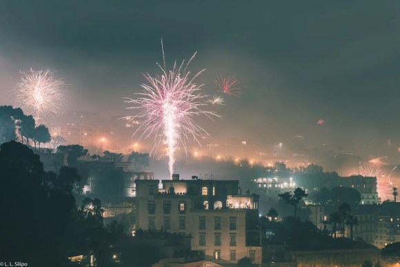 architecture, background, blue, building, castle, celebrate, celebration, chinese, city, cityscape, colorful, dark, dusk, fireworks, landscape, light, naples, new, new years, night, outdoor, sea, show, tourism, travel, urban, year, years
