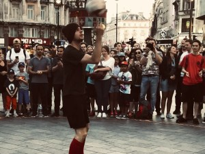 London, Piccadilly, ball, city, crowd, group, pavement, people, road, soccer, square, street, travel, urban