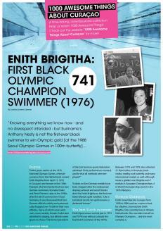 #741. Enith Brigitha: First Black Olympic Champion Swimmer (1976) in Go Weekly magazine.