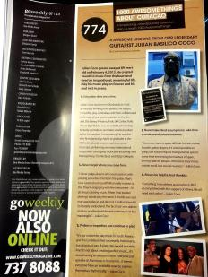ATAC #774. Guitarist Julian Basilico Coco (RIP) featured in GO Weekly's sixth edition of 2013.
