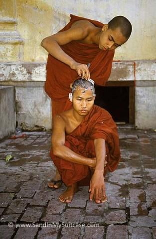 Monks shaving