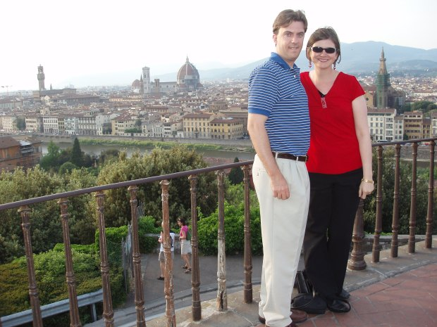 Take you postcard picture at the Piazzale Michelangelo.