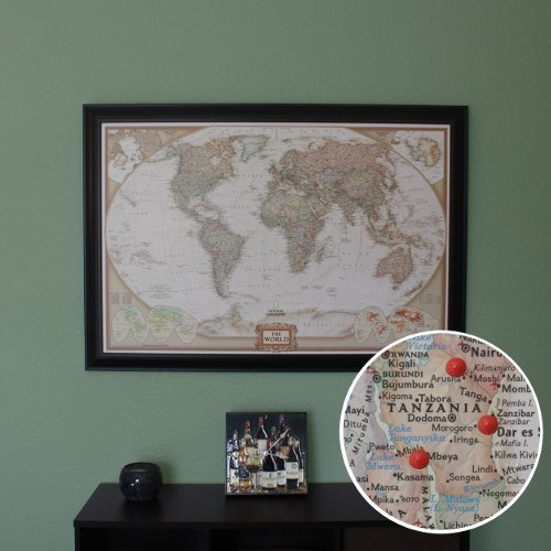 One of our prized possesions, our travel map.