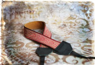 Red Damask Leather Camera Strap from Porteen Gear.