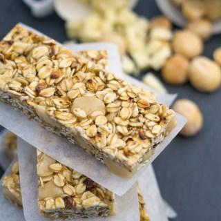 White Chocolate Macadamia Granola Bars