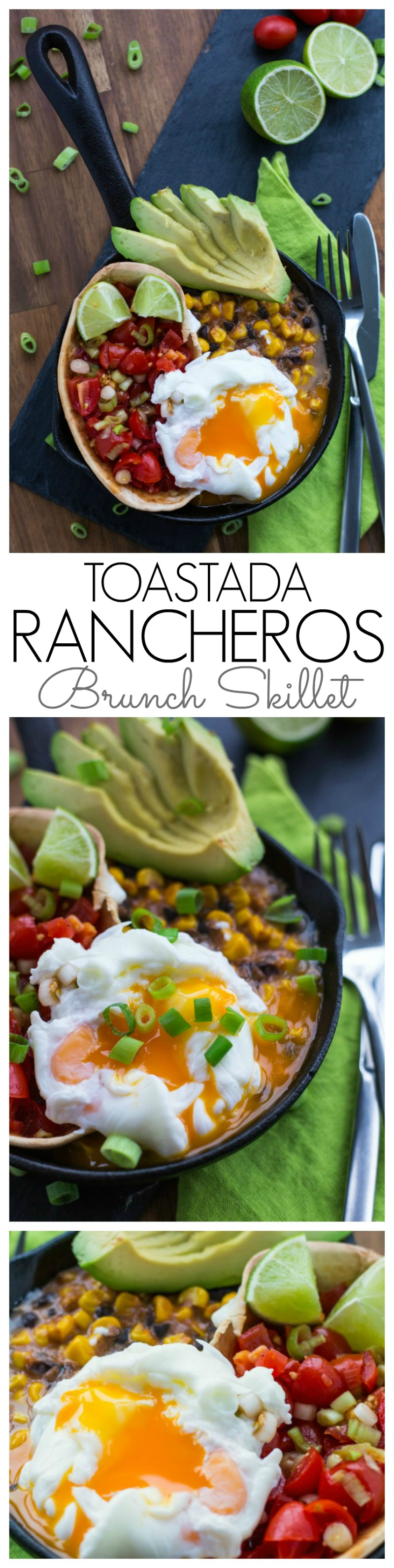 A filling and nutritious brunch. Creamy, fresh and crunchy and a little heat. This Tostada Rancheros Skillet is brunch heaven!