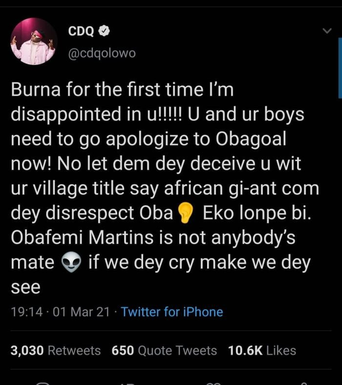 Why CDQ Storm Burna Boy For Disrespecting Obafemi Martins