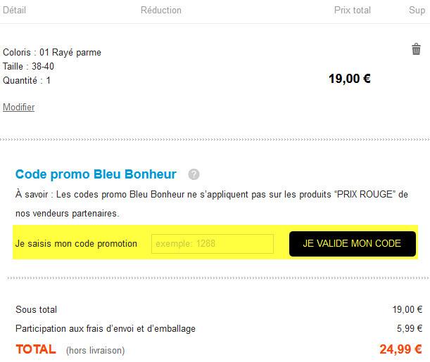 codes promo soldes bleu bonheur 50