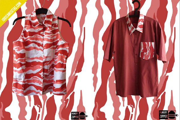Shirts bacon hungry zippers