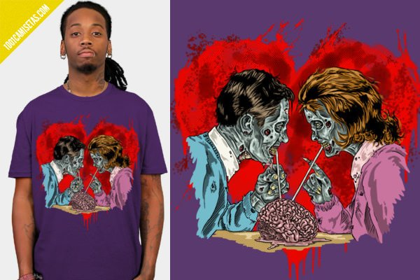 Camisetas zombies san valentin