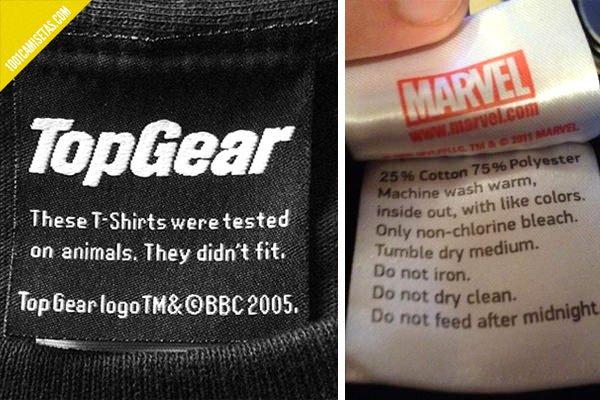 Etiquetas divertidas camisetas