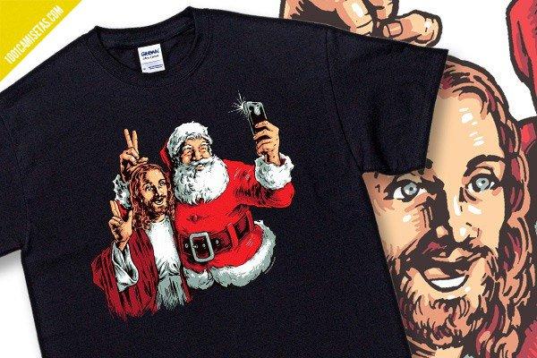 Camiseta santa jesus selfie
