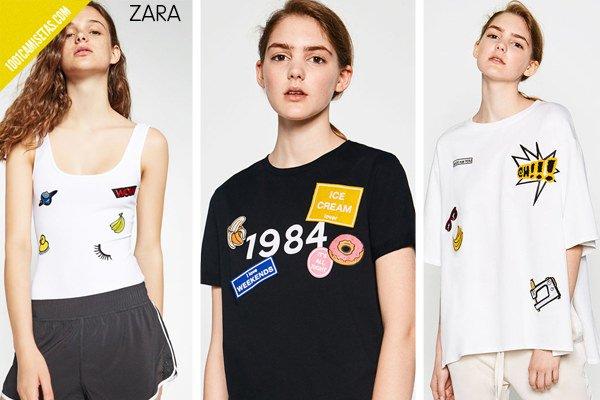 Camisetas parches zara