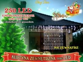 Profesjonalna kurtyna świetlna 1,2m x 2,5m • 250 LED • Grube IP44 • możliwość łączenia • zewnętrzne oświetlenie świąteczne LED NR 0231