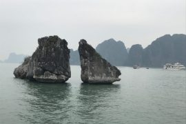 Kissing chicken rocks Halong Bay Vietnam