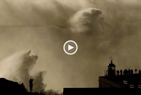 Provavelmente a maior onda surfada na Nazaré