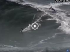 Engolido pelas ondas gigantes na Nazaré