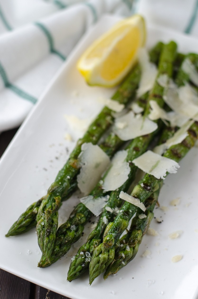 "Grilled asparagus is green asparagus shortly boiled and then grilled with olive oil, served with salty crystals ""fleur de sel"" and parmesan."