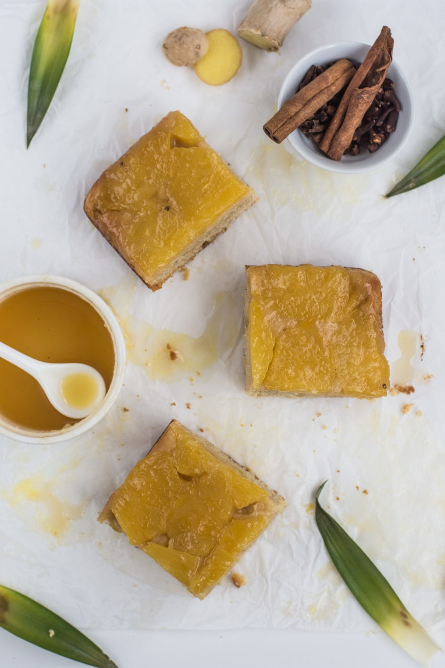 Delicious moist spicy cake with caramelized pineapple and ginger warms you up during the cold winter afternoon! It tastes the best when served warm.
