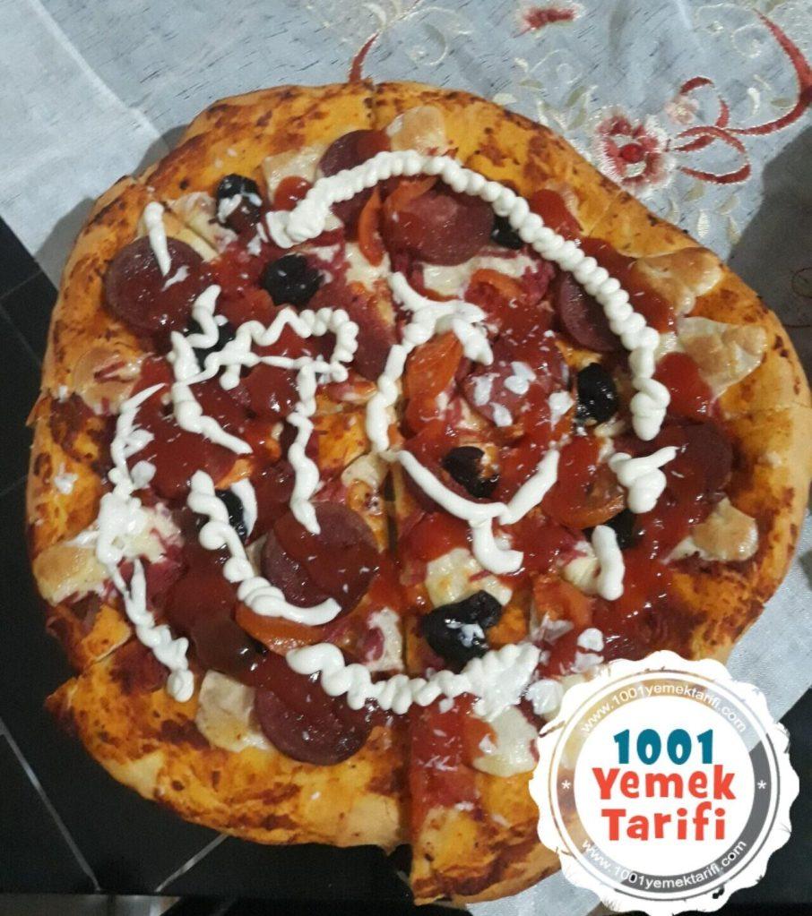 ev yapımı Tavada Acılı Pizza Tarifi-nasıl yapılır