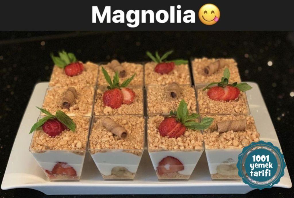 Muzlu ve Çilekli Magnolia Tatlı Tarifi nasıl yapılır