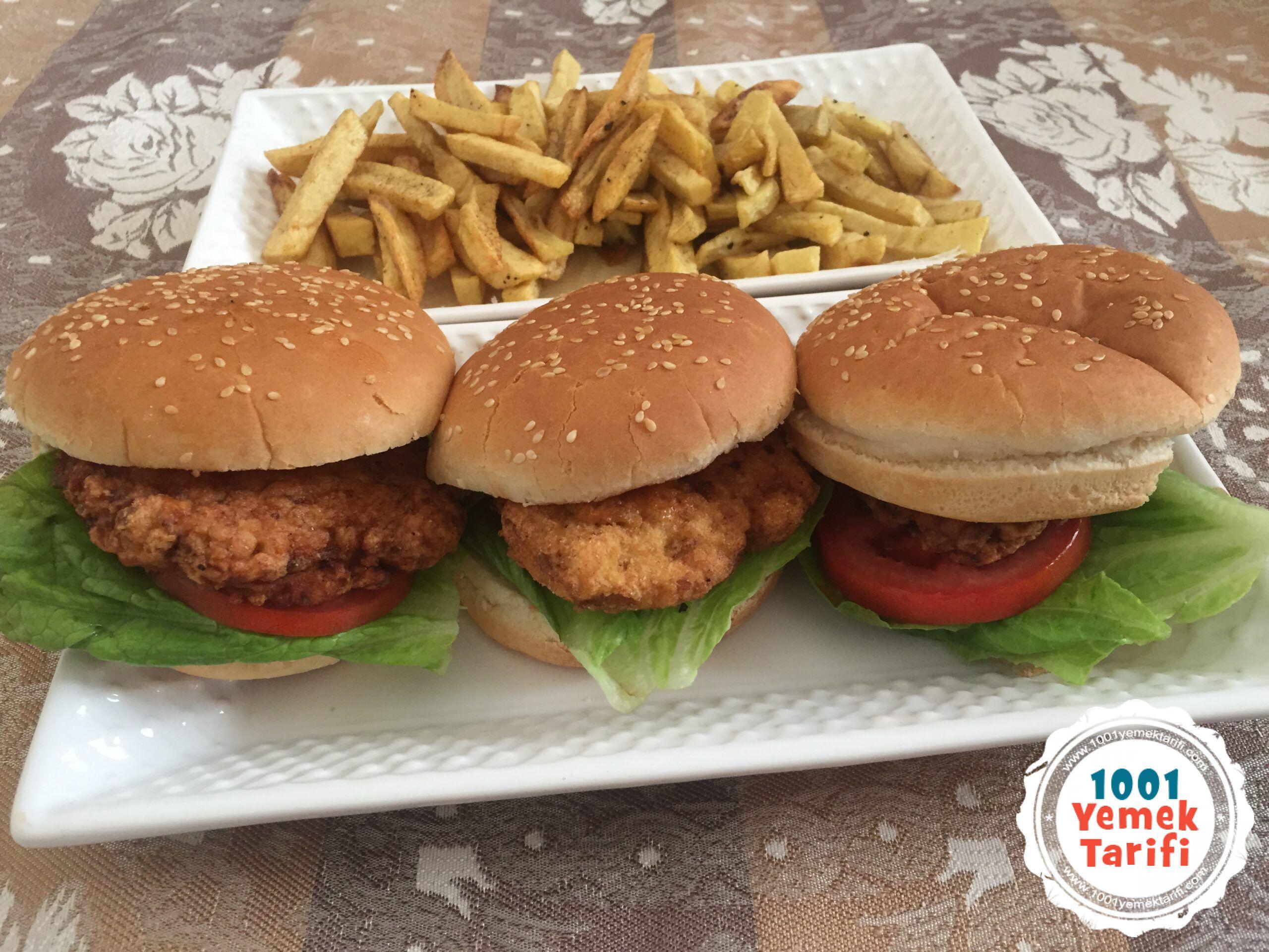 chicken burger-tavuk burger tarifi-nasıl yapılır yapımı kac kalori