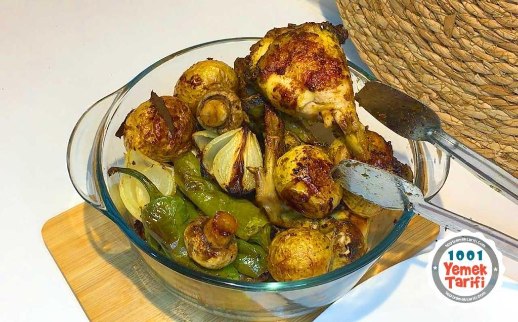 firinda patatesli tavuk tarifi-firinda tavuk izgara-firinda patatesli tavuk nasil yapilir-yapimi