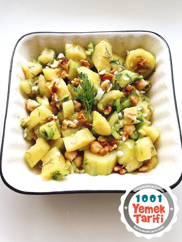 cevizli kabak salatası tarifi-nasıl yapılır-diyet salata-fit salata yapımı