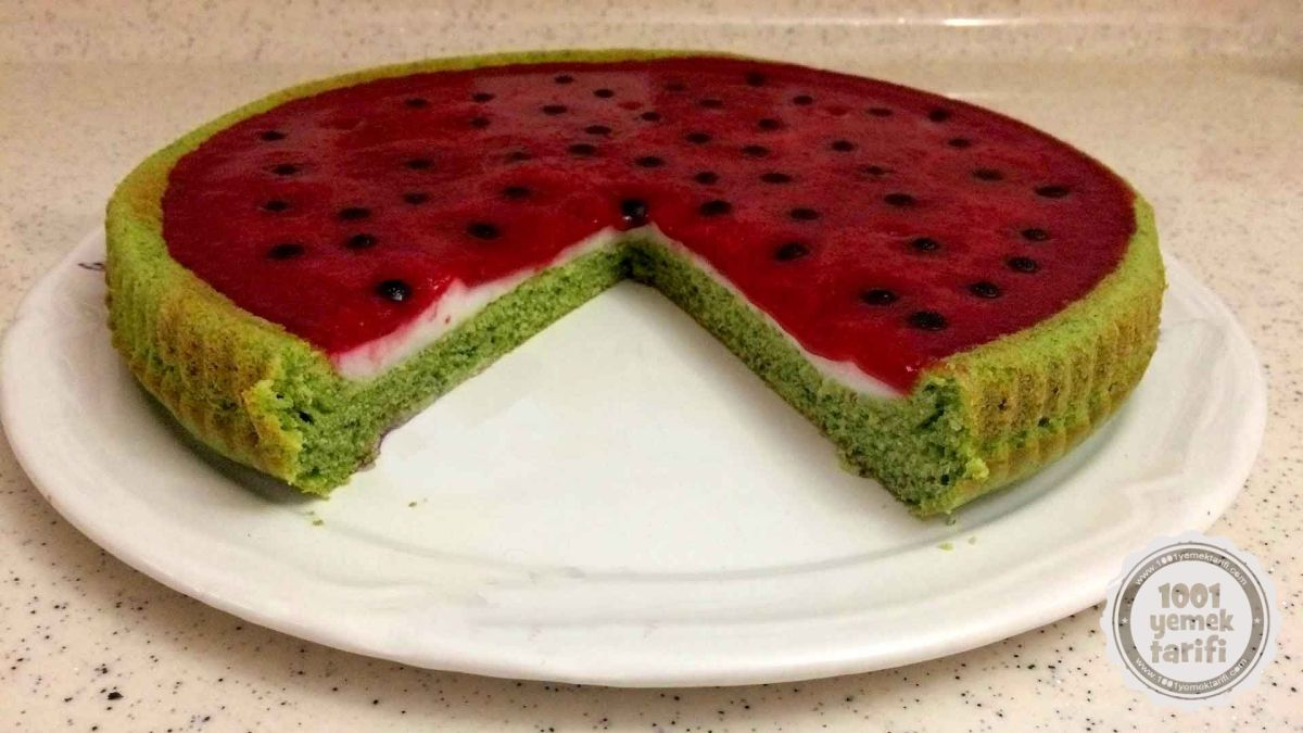 karpuz gorunumlu kek tarifi-kolay pratik ve ev yapimi nefis kek tarifleri