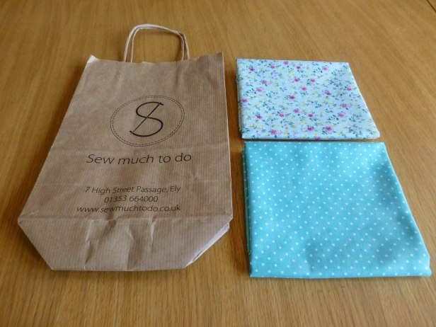 Paper bag from Ely shop Sew Much To Do and the fabric that Emma bought