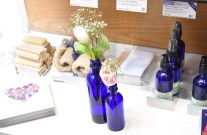 A photograph of some bath brushes and other bath products