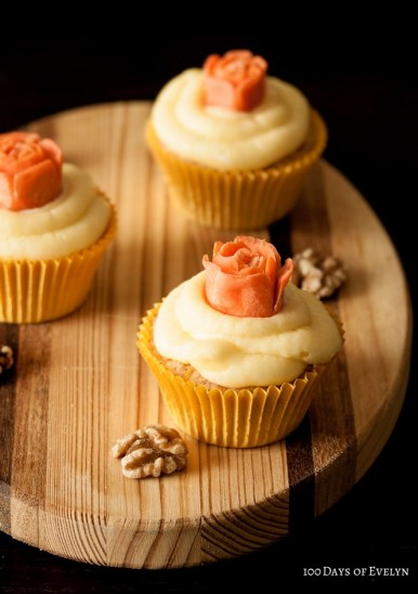 Carved Carrot Rose Cupcakes