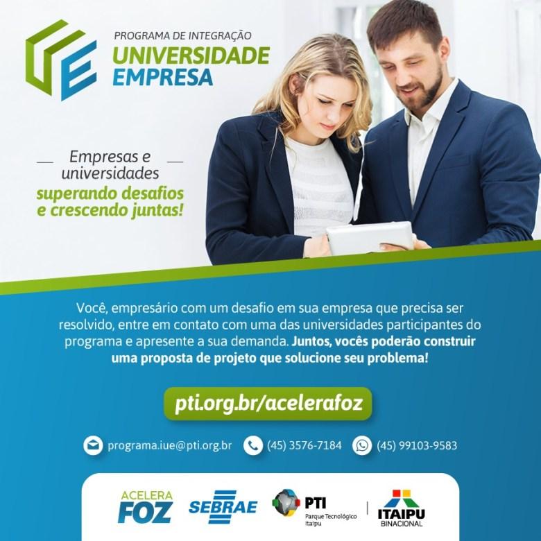 Edital Integração Universidade e Empresa Acelera Foz