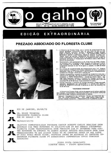 Roberto Carlos como destaque na capa do jornal O Galho, do Floresta Clube