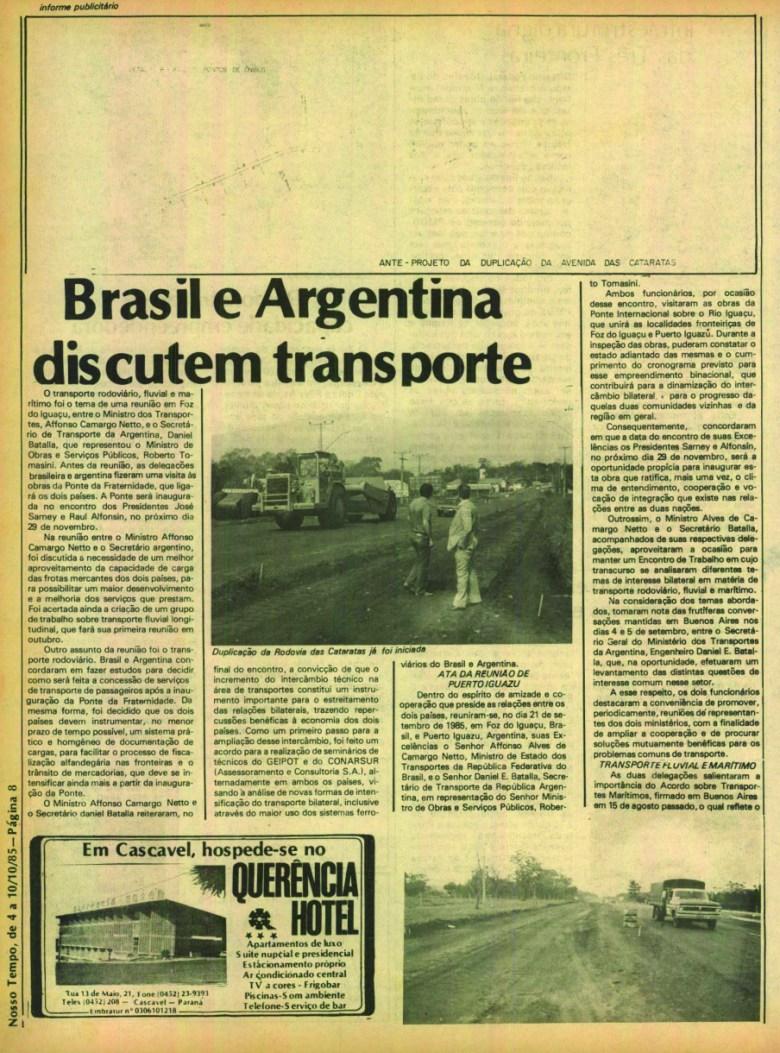 jornal nosso tempo de 1985 duplicaçao BR 469