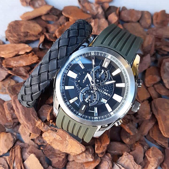 Relógios masculino Technos e pulseira de aço com couro