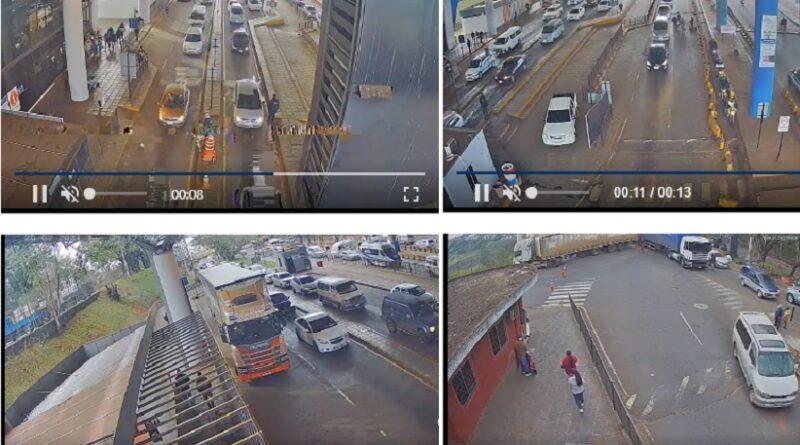 visão das câmeras de segurança da aduana com o Paraguai