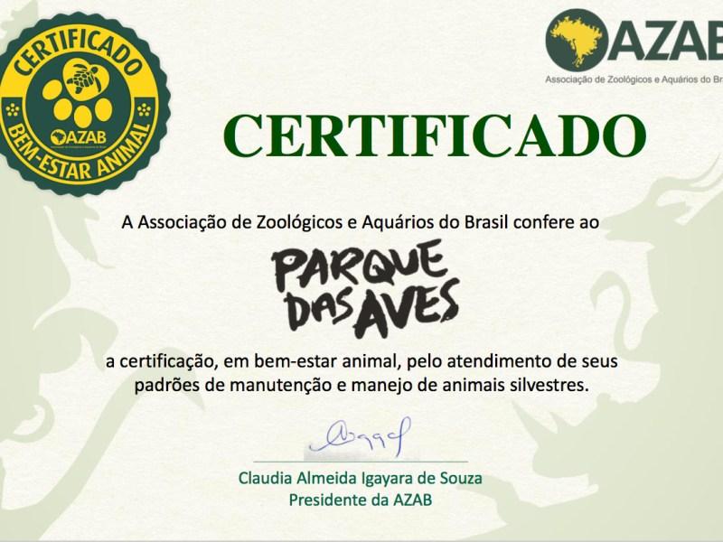 Certificado Parque das Aves