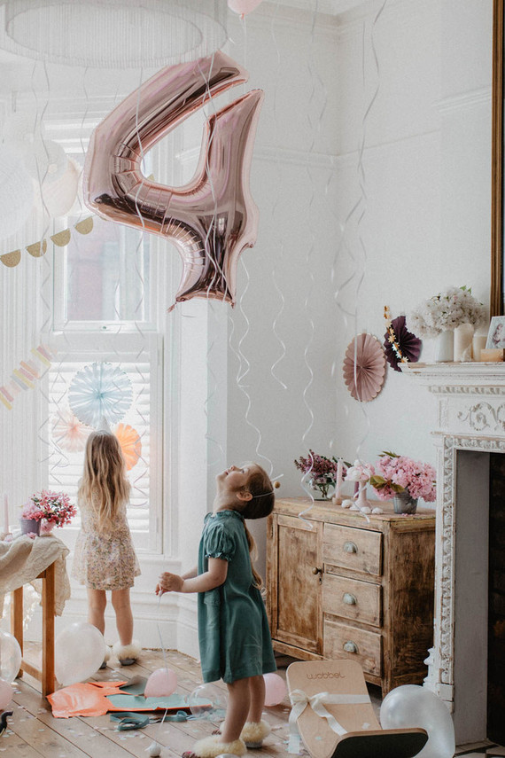 4th birthday breakfast party at home for twin girls