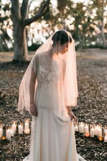 Pôr do sol retrato de noiva
