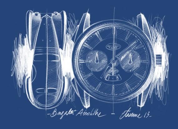 PARMIGIANI Bugatti Aérolithe_Zeichnung Auto und Uhr