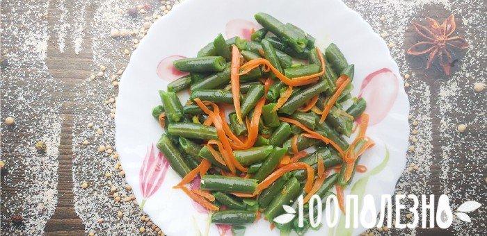 Garnitură de fasole fiartă cu morcovi în coreeană
