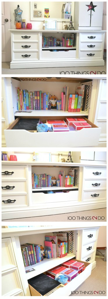 Dresser makeover, Repurposed dresser, kid's dresser, dresser with bookshelf, dresser with toybox, dresser bookshelf toybox in one
