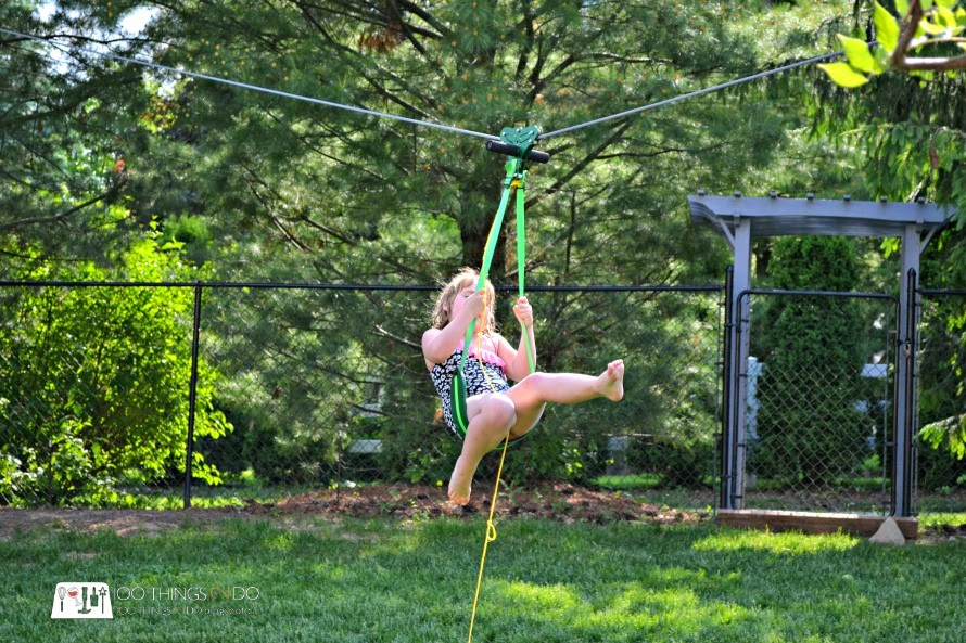 Backyard fun - kid-sized zip-line