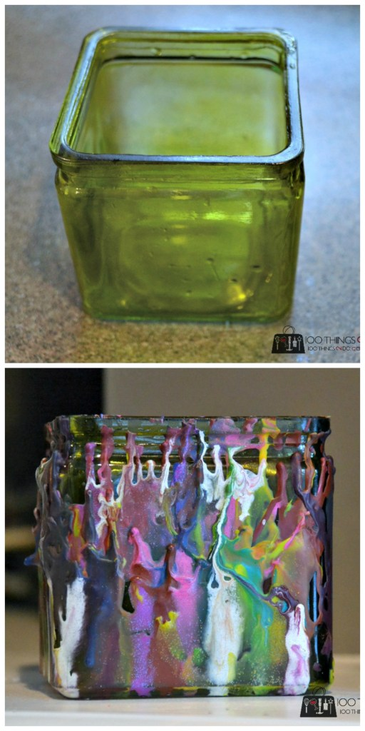 Adding melted crayon to create home decor pieces