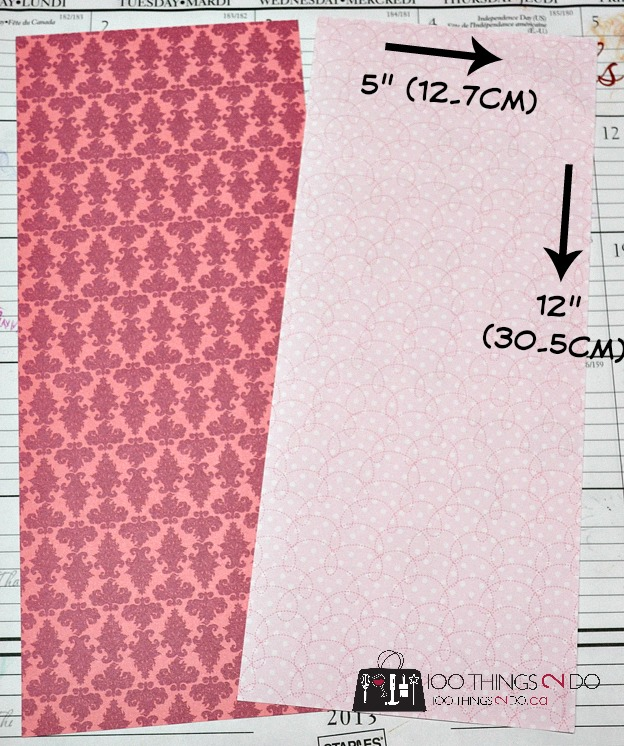 "patterned paper measuring 12"" by 5"""