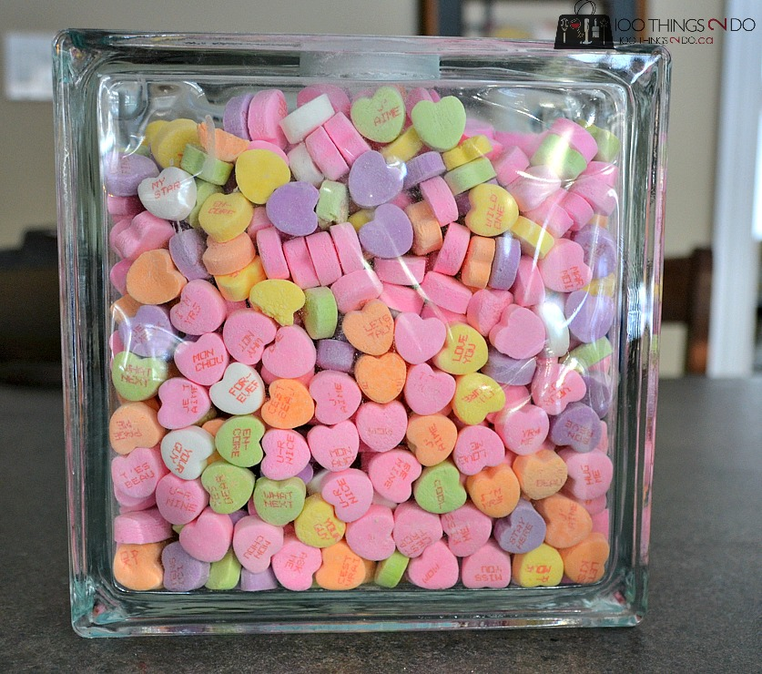 Glass block filled with conversation hearts