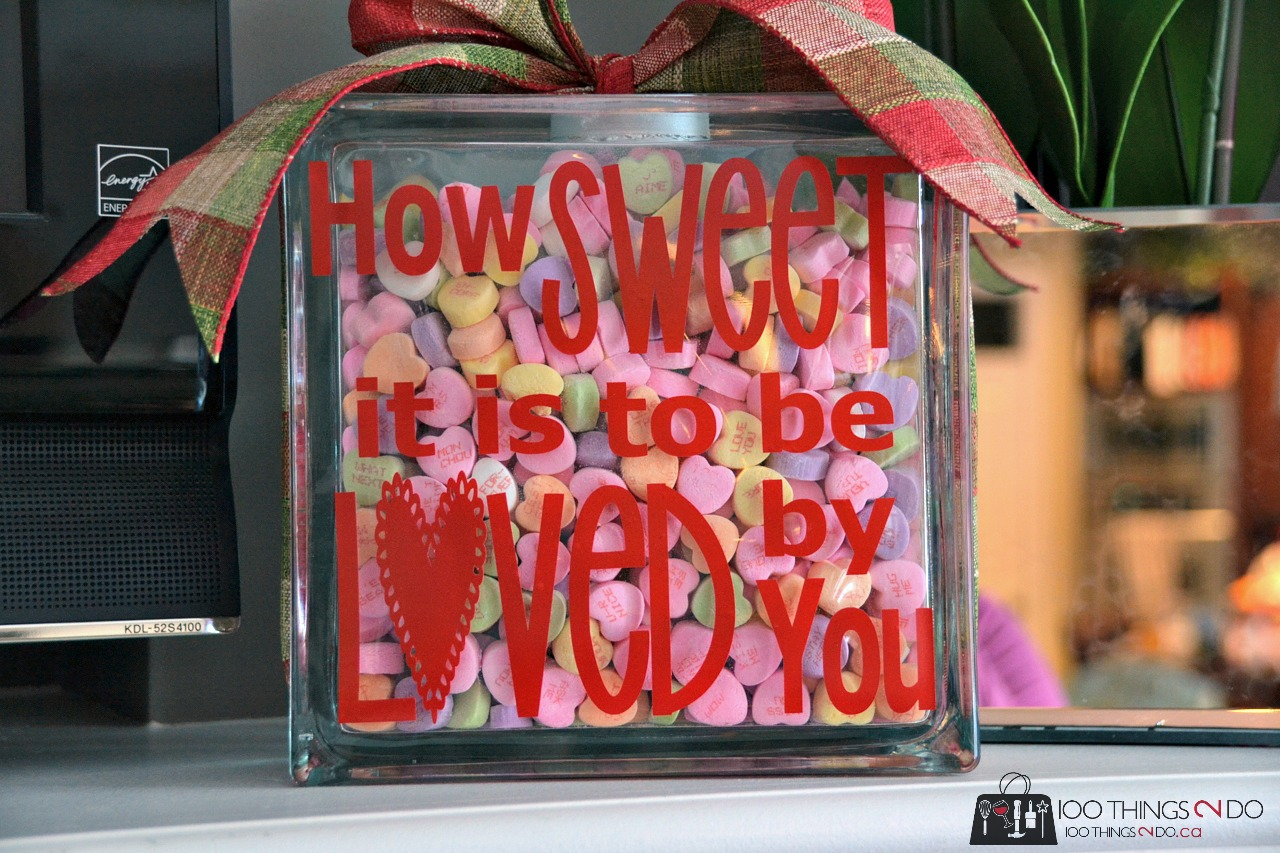 "Glass block with saying ""How sweet it is to be loved by you"""