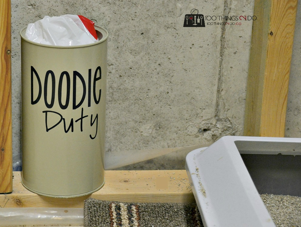 Repurpose a coffee or hot cocoa container to create cute storage for litter or poop bags, repurposed cocoa container, Doodie duty, cat litter bag container, poop bag container